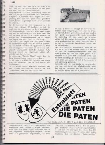 1986 'Contact, wacht uit'... Kroniek van 25 jaar 103 Verkenningsbataljon 49
