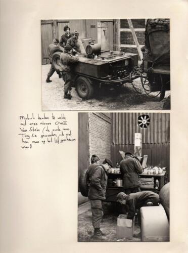 1971-1972 B-Esk 103 Verkbat; Owi Joop van Stein bij de keukenwagen. Uit het fotoboek van de Ritm R Meeder  (1)