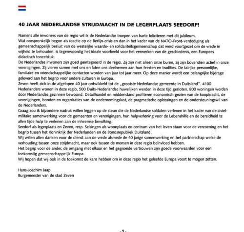 1963 2003 40 jaar Nederlandse troepen in Seedorf Blz. 9