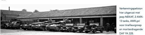 1964 Een verkenningseskadron met DAF 328 Mortier AMX 13 en Jeeps Nekafs als verk voertuig Inz. Frans Fontein