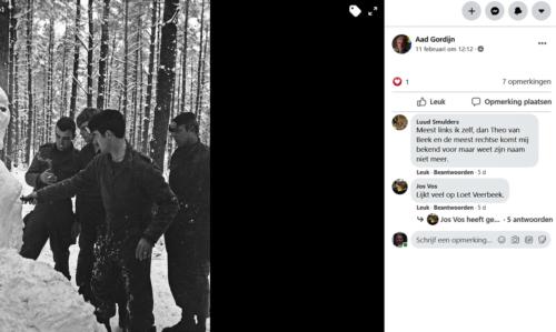 1968 1969 A Esk 103 Verkbat Winters bivak inz. Aad Gordijn met sigaret Theo v beek en Loet Veerbeek