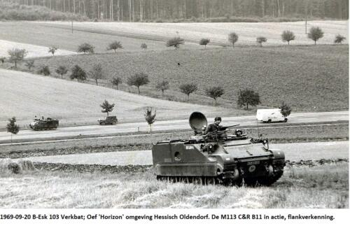 1969 09 B Esk 103 Verkbat Oef Horizon omgeving Hessisch Oldendorf. De M113 CR B11 in actie flankverkenning.