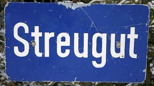 1970 het misleidende bord Streugut wat soms voor een plaatsnaam werd aangezien.