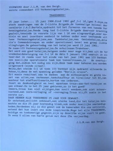 1971 06 15 103 Verkbat 10 jaar bestaan van het bataljon met voorwoord van BC Lkol J. v.d. Bergh. 2