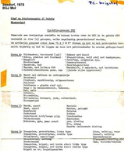 1975 41 Pabrig Seedorf PSU lijst voor inspectie