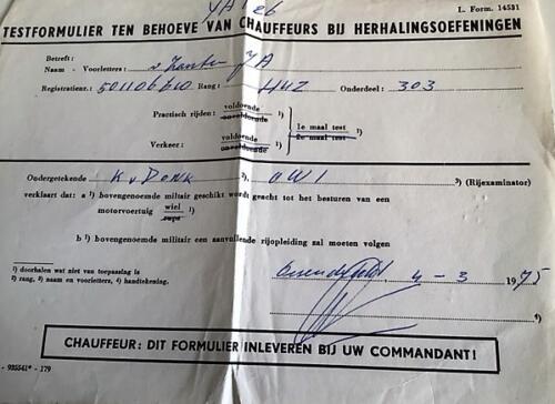 1975 Ossendrecht. 303 Verkesk Inz. John van Zanten in 1970 gediend bij SSV 103 Verkbat 1