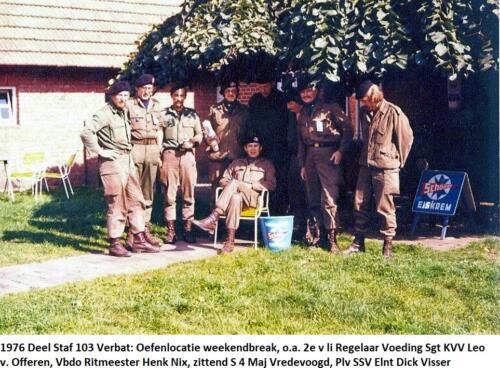 1976 Staf 103 Verkbat; Regelaar v. Offeren, Vbdo Ritm Nix, S4 Maj Vredevoogd, Plv C-SSV Elnt Visser