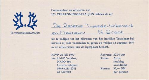 1977 08 12 103 Verkbat Uitnodiging Trakehnerbal Tnlt N Groot. Inz. Res. Ritm Lukas Maas