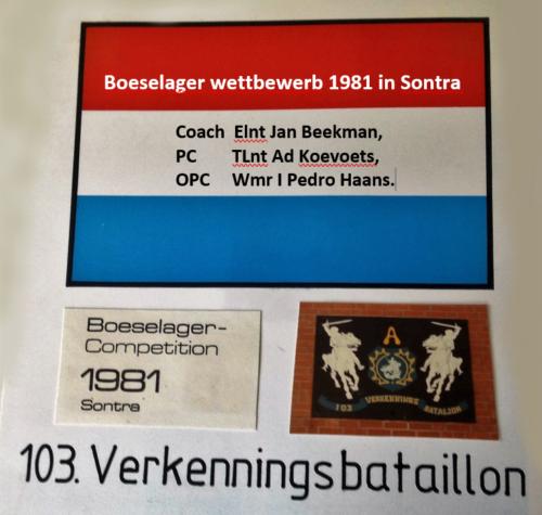 1981 A Esk 103 Verkbat Boeselager wedstrijden Aankondiging Inz. Pedro Haans