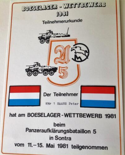 1981 A Esk 103 Verkbat Boeselager. Krantenartikel en Certificaat Inz. Pedro Haans