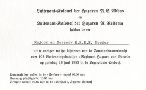 1983 06 18 103 Verkbat Uitnodiging Commando overdracht Lkol Abbas aan Lkol Reitsma