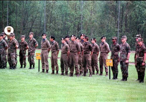 1983 1987 B Esk 103 Verkbat Boeselager wedstrijden. Opstelling en defile. Inz. Wmr I Jan Pol 30