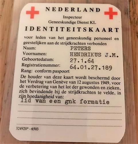 1986 SSV Esk 103 Verkbat Identiteitskaart geneeskundige dienst. sld gnk Heini Peters