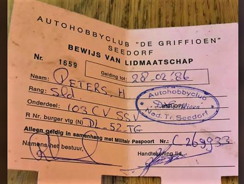 1986 SSV Esk 103 Verkbat Lidmaatschap autohobbyclub sld gnk Heini Peters