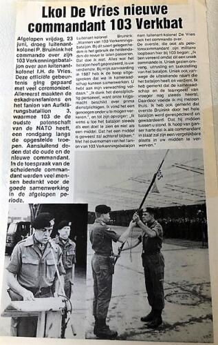 1989-06-23 103 Verkbat Artikel uit de 'Griffioen'; Lkol P. Bruinink draagt het commando over aan Lkol P de Vries (Marcel)