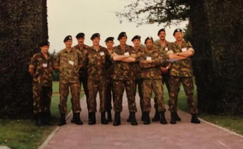 1996 103 Verkbat deel batstaf PfP oef. Li Maj vd Dungen Lkol vd Bos Owi Schimmel en rechts Inz Maj Koevoets