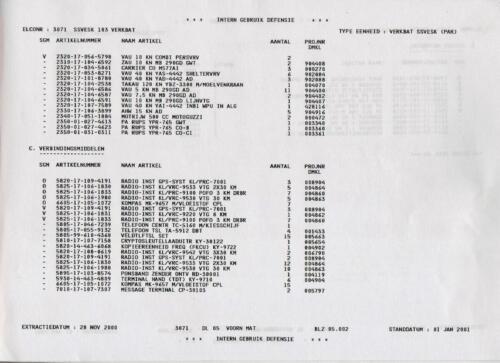 1996 2002 SSV Esk 103 Verkbat Elco 3071 2. Belangrijkste materieel volgens OTAS 2