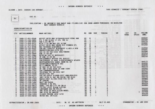 1996 2002 SSV Esk 103 Verkbat Elco 3071 5. Overzicht Materieel volgens OTAS 5