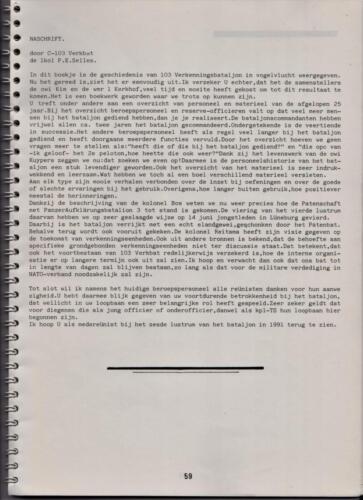 1986 'Contact, wacht uit'... Kroniek van 25 jaar 103 Verkenningsbataljon 59