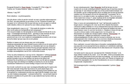 2007 08 04 A Esk 103 Verkbat Reunie Kwinten. Toespraak voormalig PC 2e Pel Elnt Kol Renie Meeder