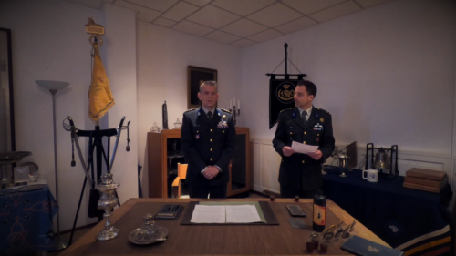 2020 11 25 Door Corona geen diner. Regimentsc Huzaren van Boreel Kol Hans v Dalen proost op de 207e verjaardag van Boreel 1