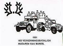 3. 1961 Oprichting 103e Verkenningsbataljon; Logo envelop met afbeelding Halfrups en Nekaf-Willy's jeep 31961O1