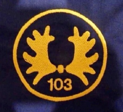 De diverse uitvoeringen van het Trakehner embleem voorbehouden aan het 103e verkenningsbataljon. 1