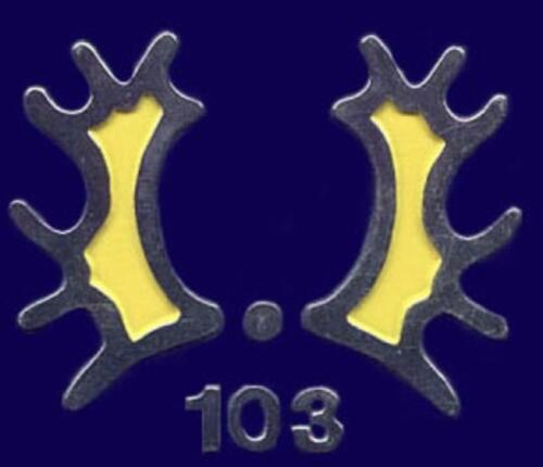 De diverse uitvoeringen van het Trakehner embleem voorbehouden aan het 103e verkenningsbataljon. 2