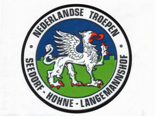 Embleem van de Nederlandse troepen in Seedorf Hohne en Langemanshof