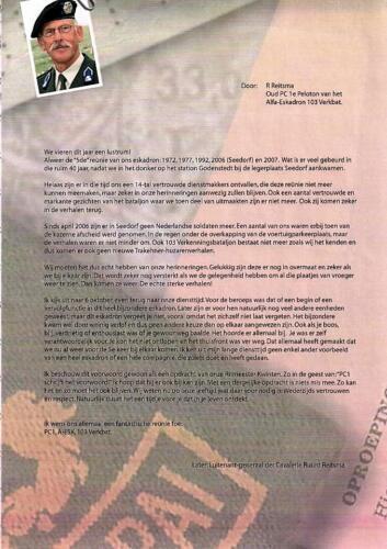 2007 A Esk 103 Verkbat Reunie 1e Pel 1966. Brief Lgen Ruurd Reitsma