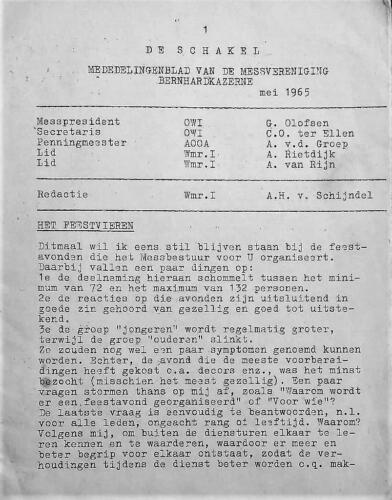 Map 18. 1965 05 blz.1. Uitgave mededelingenblad De Schakel Onderofficiersmess Bernhardkazerne 2