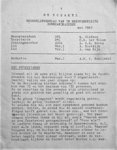 1965 05 blz.1. Uitgave mededelingenblad De Schakel Onderofficiersmess Bernhardkazerne 2