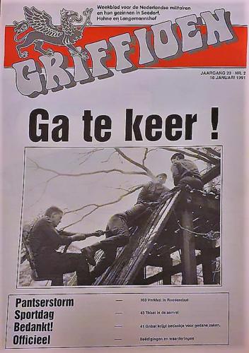 1991 01 19 103 Verkbat Artikel Griffioen oef Pantserstorm Rossendaal. Inz. rene Lustig