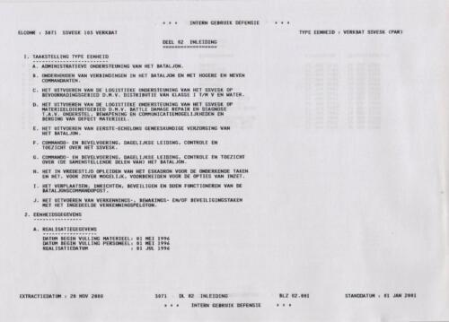 Taakstelling van het SSV Esk 103 VerkeskBataljonsstaf